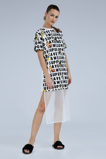 Iconic PowerPuff Girls Printed Dress with Slit and Mesh Hem
