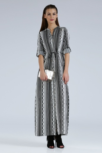 Iconic Printed Maxi Dress with Long Sleeves and Tabs