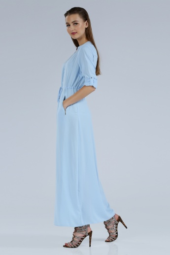 Iconic Maxi Dress with Long Sleeves and Tabs
