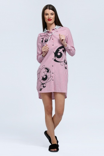 Iconic PowerPuff Girls Print Shirt Dress with Hood