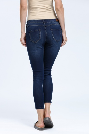 Iconic Embellished 3/4 Length Jeans with Button Closure