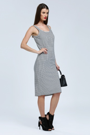 Iconic Striped Sleeveless Dress with Round Neck
