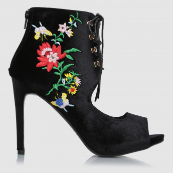 Iconic Embroidered Lace-Up High Heel Sandals