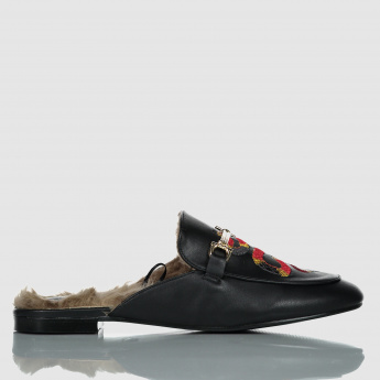 Iconic Embroidered Plush Slip-On Babouche Shoes