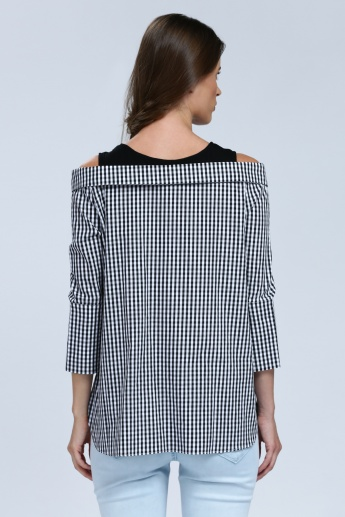 Iconic Chequered Top with 3/4 Sleeves and Floral Embroidery