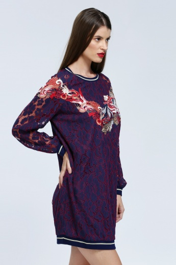 Iconic Embroidered T-Shirt Dress with Long Sleeves