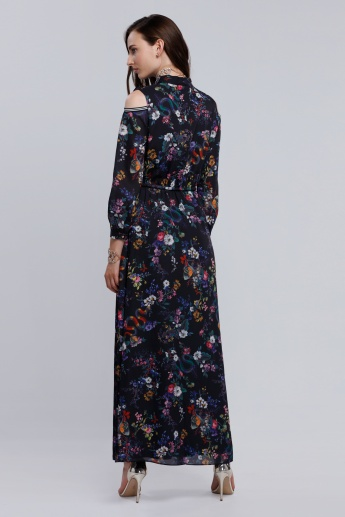 Iconic Printed Maxi Dress with Cold Shoulders
