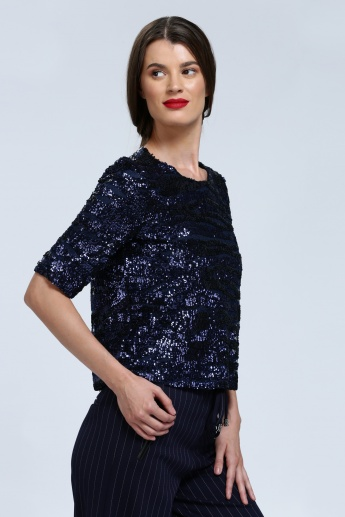 Iconic Sequin Top with Round Neck and Zip Closure