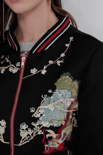 Iconic Embroidered Jacket with Zip Closure and Long Sleeves
