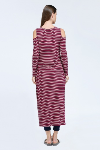 Iconic Striped Long Top with Slits and Cold Shoulder