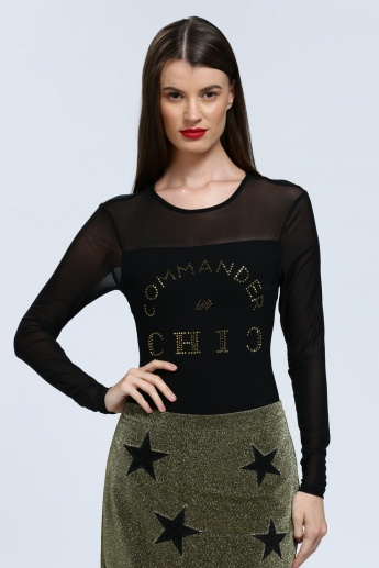 Iconic Embellished Mesh Top with Long Sleeves