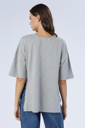 Iconic Melange Printed T-Shirt with Short Sleeves
