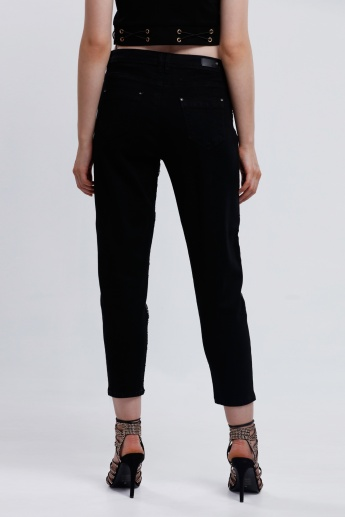 Iconic Embellished 3/4 Length Jeans with Pocket Detail