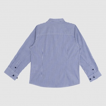 Iconic Striped Shirt with Mandarin Collar and Long Sleeves