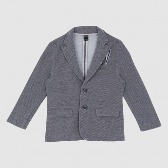 Iconic Textured Jacket with Notch Collar and Long Sleeves