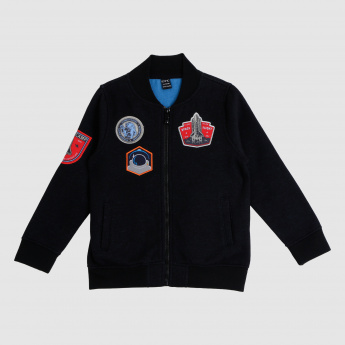 Patchworked Zip Closure Bomber Jacket