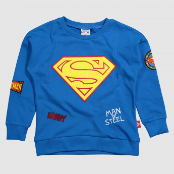 Iconic Superman Printed Round Neck Sweatshirt with Long Sleeves