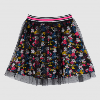 Iconic Minnie Mouse Printed Skirt with Elasticised Waistband