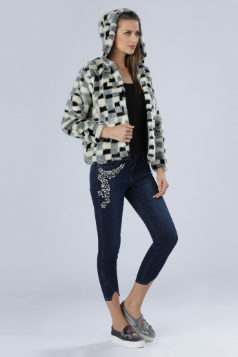 Iconic Plush Detail Jacket with Long Sleeves