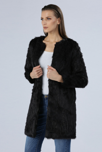 Iconic Plush Longline Jacket with Long Sleeves