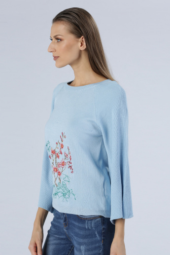 Round Neck Embroidered Sweater with Full Sleeves
