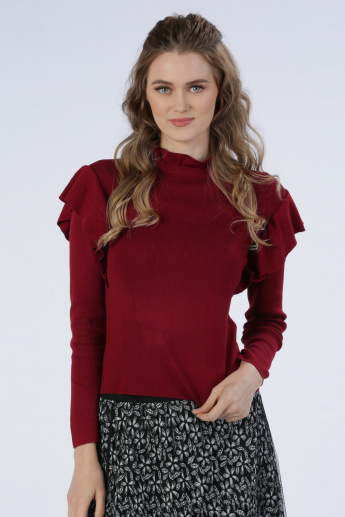 Iconic Round Neck Sweater with Long Sleeves and Ruffle Detail