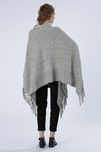 Iconic High Neck Cape with Tassels