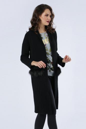 Iconic Long Open Front Jacket with Pocket and Plush Detail