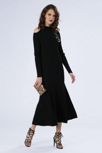 Iconic Cold Shoulder Dress with Embellishment