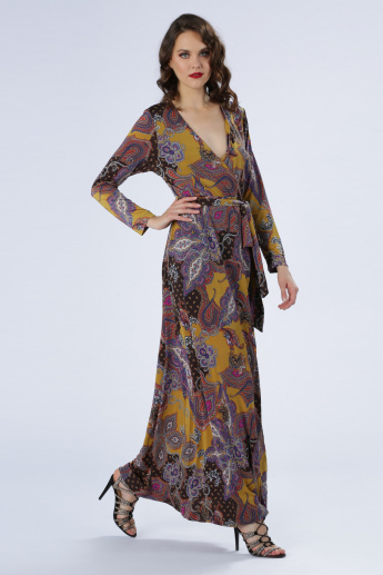 Iconic Printed Wrap Maxi Dress with Long Sleeves