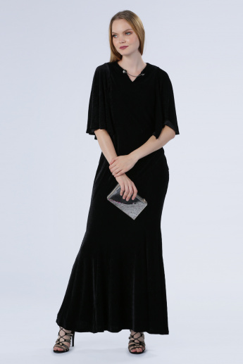 Iconic Textured Maxi Dress with Flared Sleeves