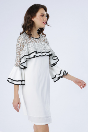 Iconic Round Neck Dress with Bell Sleeves and Lace Detail