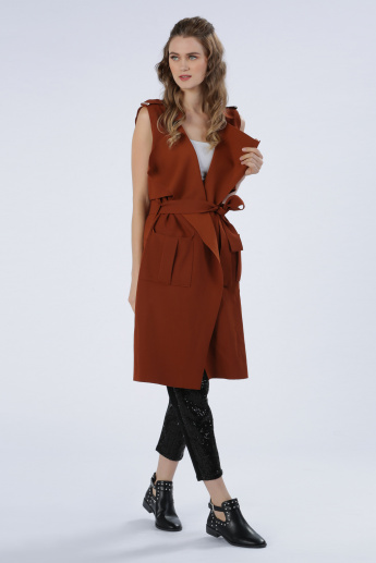 Iconic Sleeveless Trench Coat with Tie Up Closure and Pocket Detail