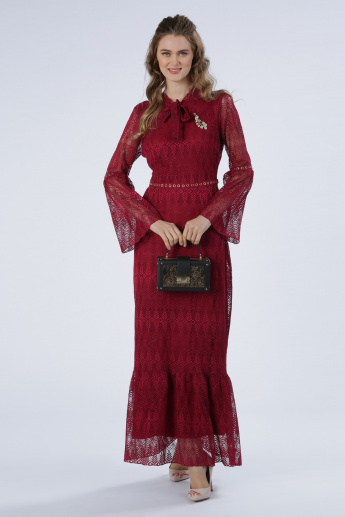 Iconic Lace Maxi Dress with Tie Up and Bell Sleeves