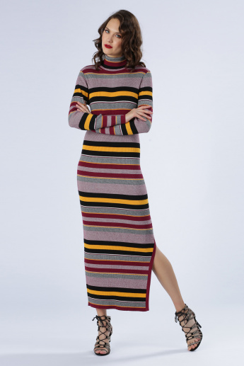 Iconic Striped Bodycon Dress with Long Sleeves and Slit
