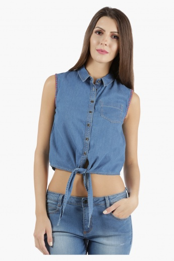 Lee Cooper Denim Front-Knot Shirt in Regular Fit