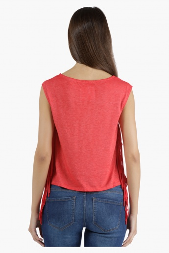 Lee Cooper Printed Burnout T-Shirt with Fringes in Regular Fit