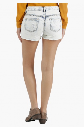 Lee Cooper Distressed Denim Shorts in Slim Fit