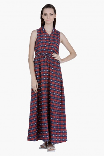 Lee Cooper Printed Cotton Maxi Dress with Front Slit