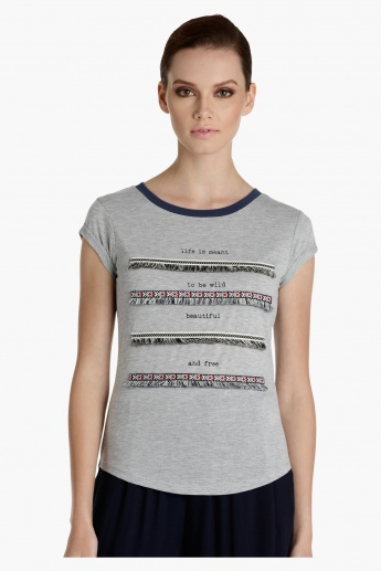Lee Cooper Embellished Melange T-Shirt