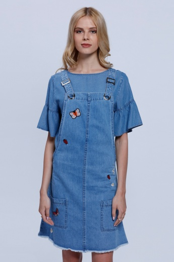 Lee Cooper Embroidered Denim Pinafore