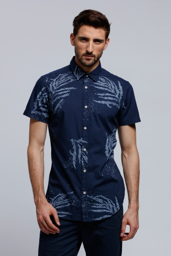 Lee Cooper Printed Shirt with Short Sleeves and Complete Placket