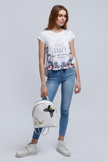 Lee Cooper Printed High Low Hem T-Shirt with Round Neck and Short Sleeves