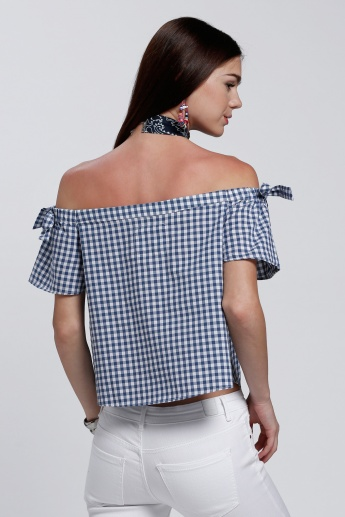 Lee Cooper Chequered  Off Shoulder Top