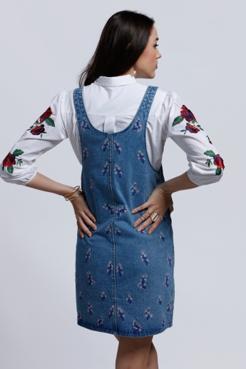 Lee Cooper Embroidered Pinafore Dress with Pocket Detail