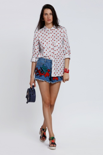 Lee Cooper Printed Shirt with Roll Up Sleeves and Flap Pockets