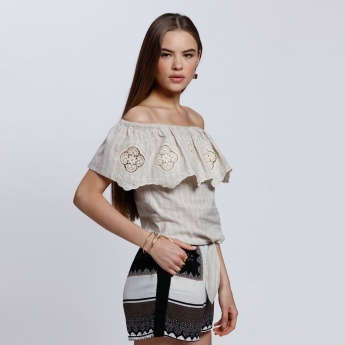 Printed Off Shoulder Top with Tie Up Hem