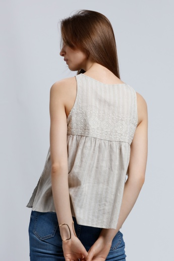 Lee Cooper Sleeveless Top with Cutwork