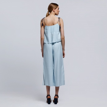 Embroidered Dungaree with Drawstring Straps and Cutwork