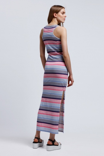 Lee Cooper Striped Sleeveless Dress with Round Neck and Side Slit